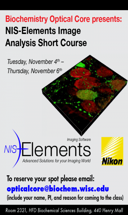 NIS-Elements Image Analysis Short Course Poster