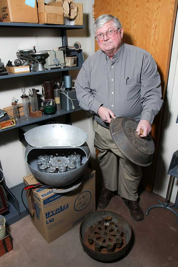 Photo of Dave Nelson with Babcock centrifuge