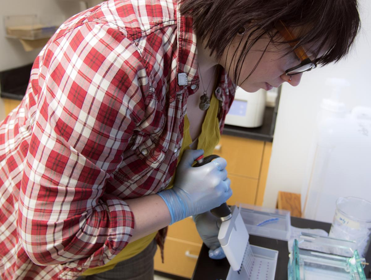 A picture of Kelly Schwartz, a postdoctoral fellow in Raman's laboratory