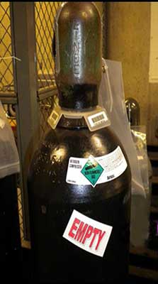Properly Labeled Empty Gas Cylinders