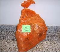 Photo of orange autoclave bag