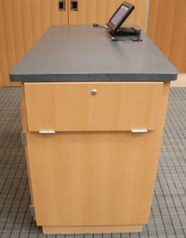 photo of console and document camera cabinet