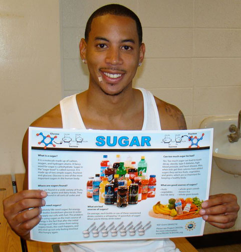 Photo of Devon Harris with placemat