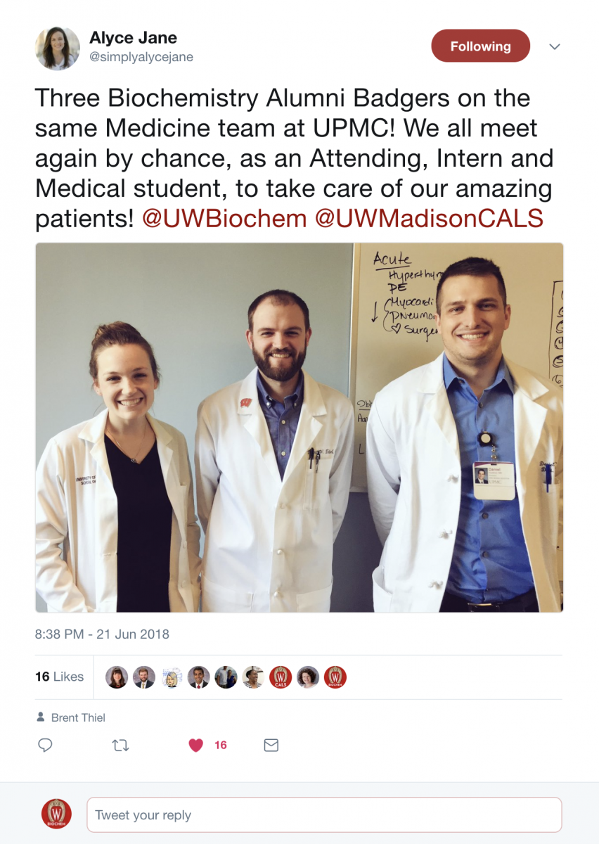 Three Biochemistry Undergraduate Alumni Reunite During Medical Career Biochemistry Uw Madison She currently lives and works in london. three biochemistry undergraduate alumni