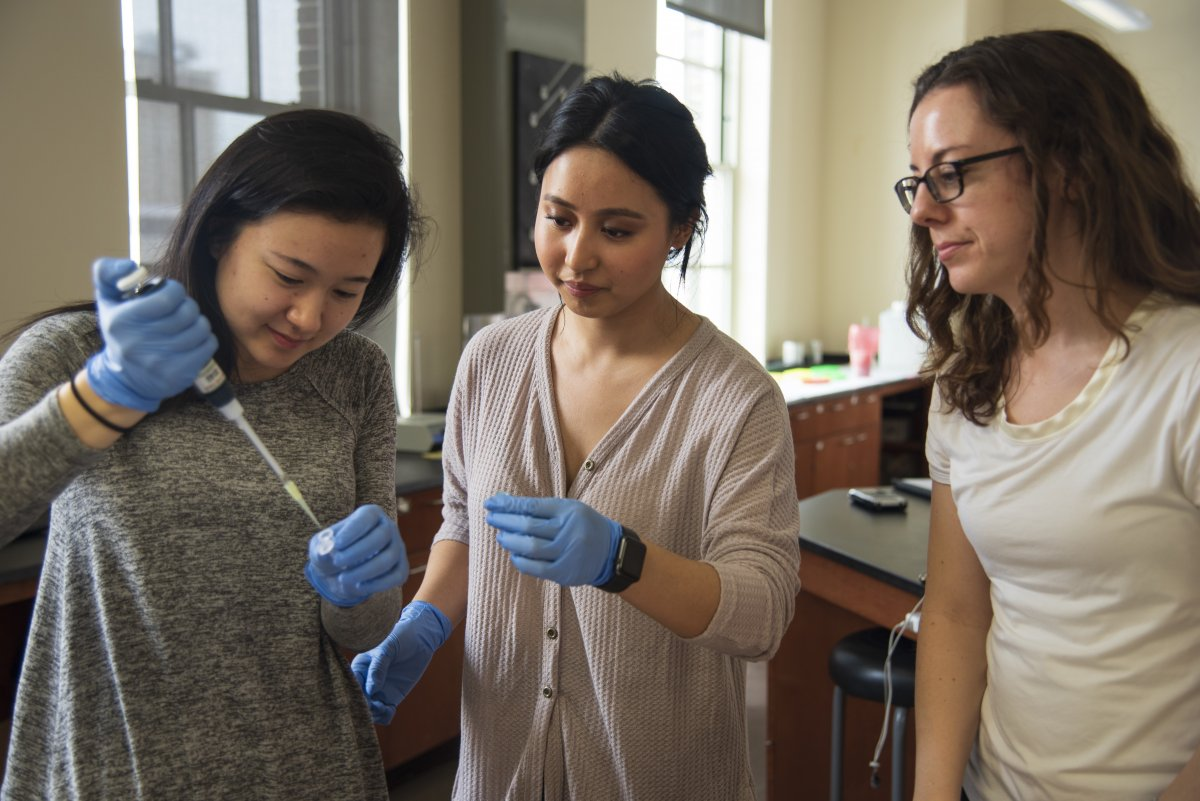 Biochemistry faculty associate Lynne Prost with students in the lab