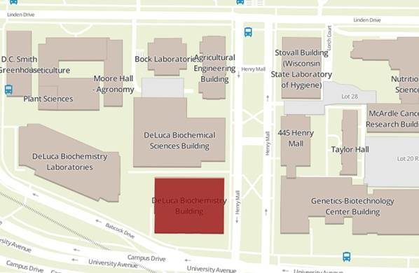 Map of campus near the Department of Biochemistry